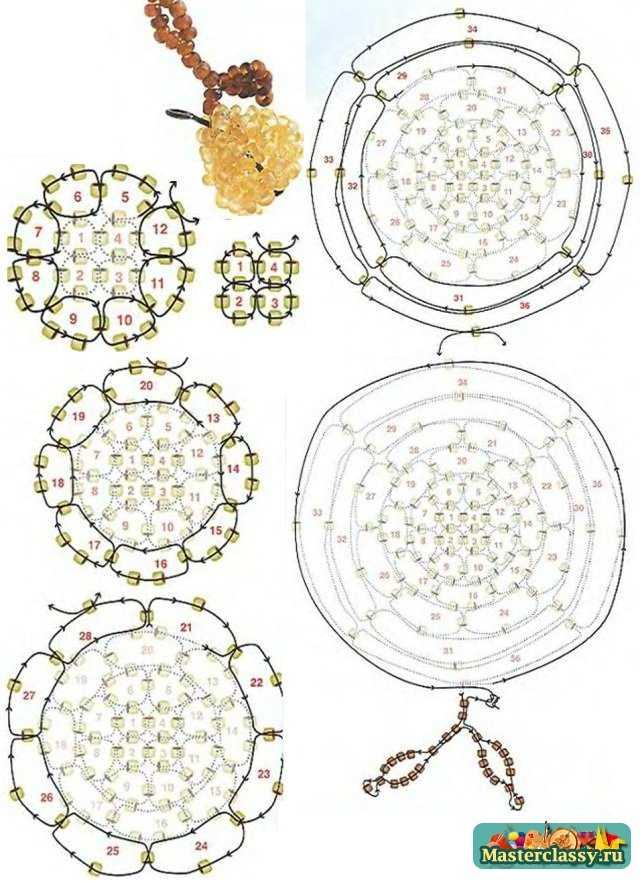 Фрукты из бисера - схемы