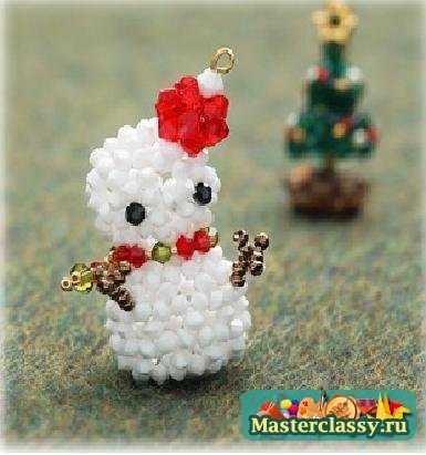 Снеговик из бисера. Схема
