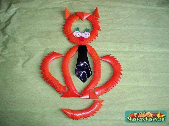 Кот оригами. Сборка кота.