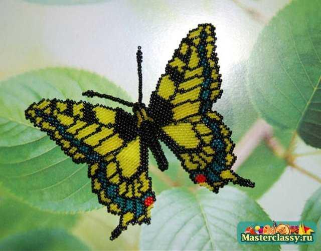 Красивая бабочка из бисера.
