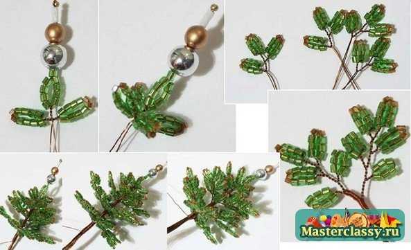 """Техника плетения миниатюрной елки  """"петельки со скручиванием """" как показано на схеме.  Эта техника очень проста..."""