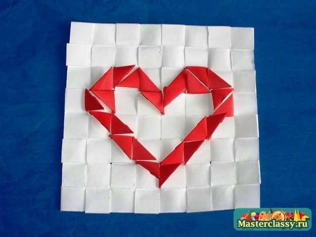 простой рисунок - сердце. оригами. поле для модулей.  Изготовим.  Давайте выложим с помощью. треугольных модулей...