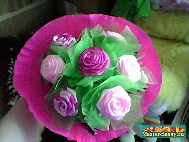 Как сделать из атласных лент букет из роз