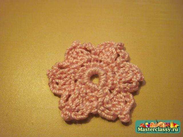 Салфетка крючком. Букет розовых цветов. Пошаговый мастер класс