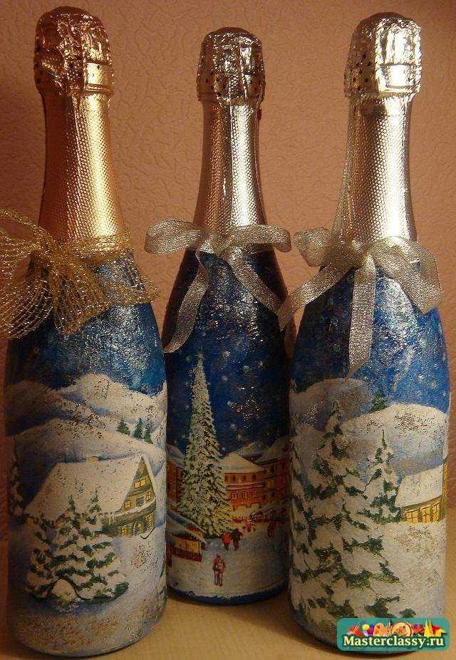 Декупаж на бутылке своими руками на новый год