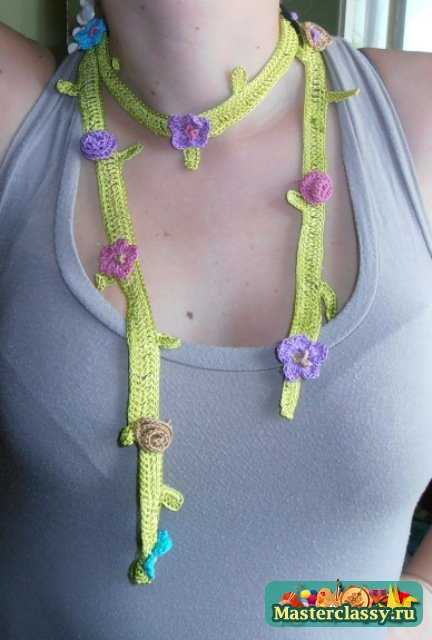 Вязаные украшения на шею крючком мастер класс