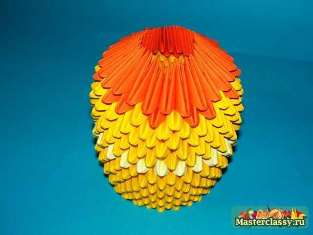 Оригами из модулей.  Мастер-класс с пошаговыми фото.  Цыпленок тельце модульное оригами.