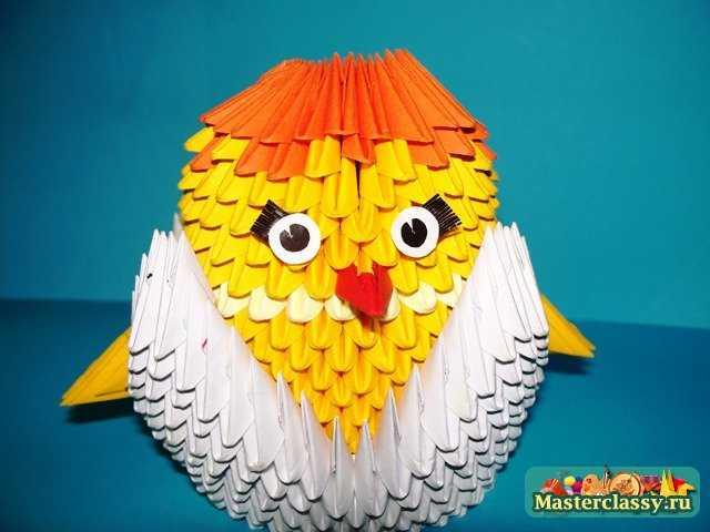 Оригами из модулей.  Мастер-класс с пошаговыми фото.  Сборка Цыпленка модульное оригами.