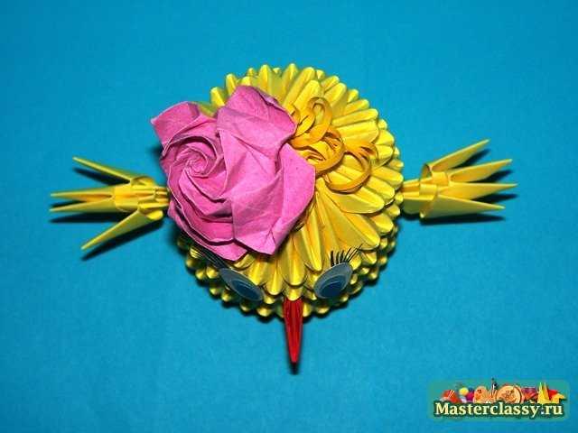 Модульное оригами цыпленок с бантиком.  Мастер класс с пошаговыми фото.  Сборка цыпленка оригами.