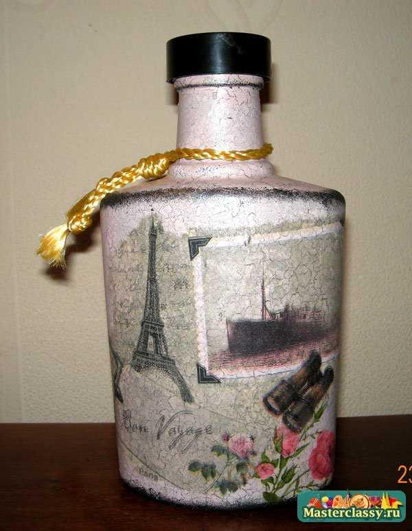 Мастер класс декупаж бутылки для начинающих пошагово