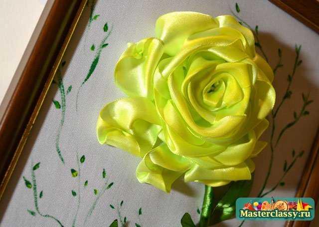 Вышивка лентами.  Желтые розы.