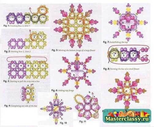 схема плетения украшения с цветами и бусинами. схема колье из цветов и бусин.