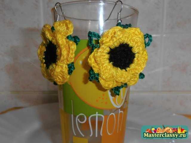 Вязаные цветы серьги фото - Фото цветов.