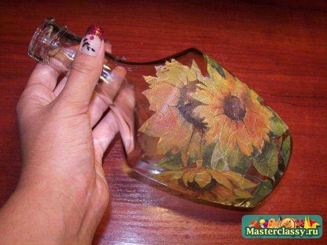 Декупаж на стекле пошагово с из салфеток