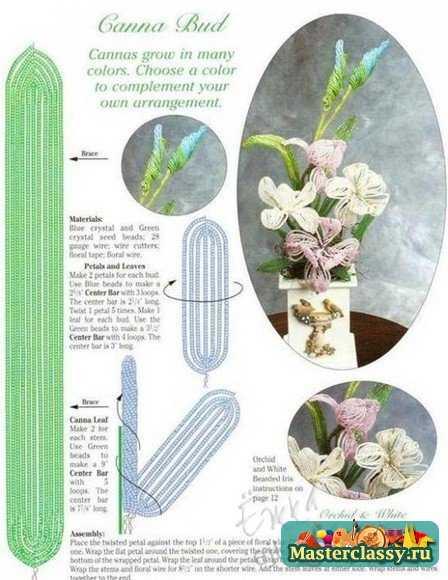 Цветы из бисера. Схемы
