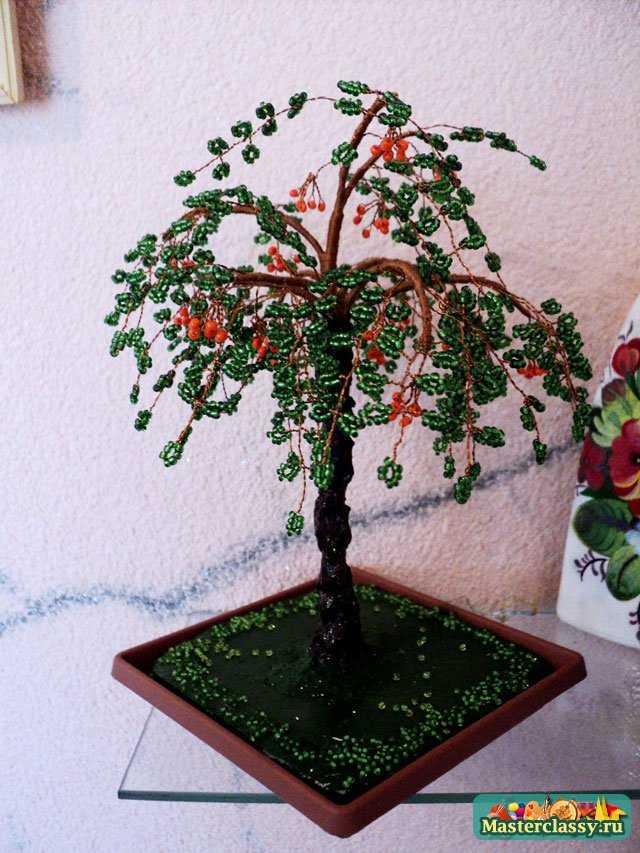 Деревья из бисера Рябина своими руками Пошаговый мастер класс с фото.