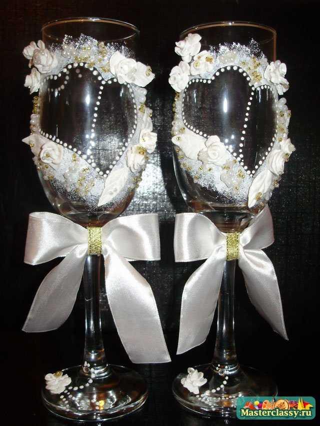 как украсить бокалы на свадьбу своими руками мастер класс видео