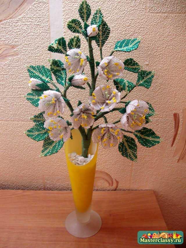 Цветы из бисера. Жасмин. Мастер класс с пошаговыми фото