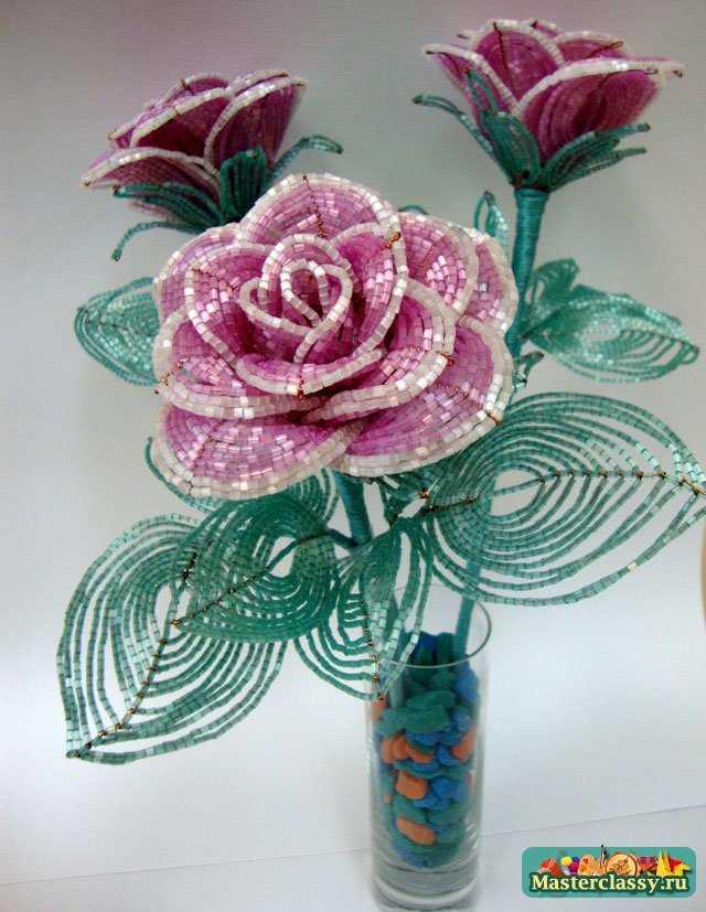 Розы из бисера мастер класс с пошаговым фото - Делаем фенечки своими руками.