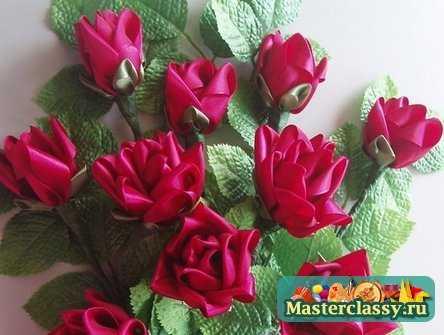Розы из лент. Мастер класс. «