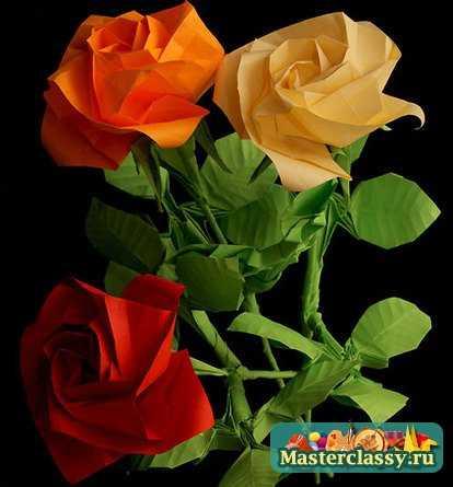 """Розы.  Сложить оригами из бумаги  """"Цветы."""
