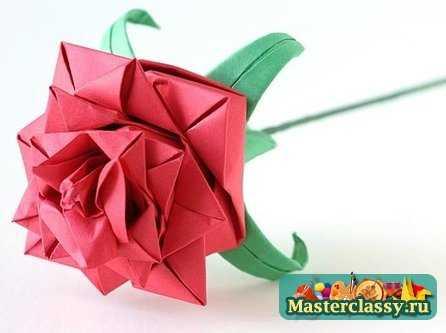 """""""Оригами из бумаги.  Роза """" схема предлагает сделать цветок практически за 20 минут.  Бумага для поделки должна быть..."""