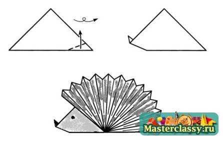 Оригами из бумаги. Ежик