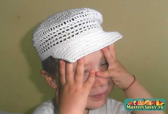 Летняя кепочка для мальчика, вязаная крючком. Мастер класс с фото