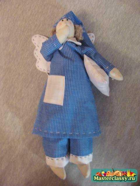 Сонный ангел Тильда в голубой пижаме. Мастер класс с пошаговыми фото
