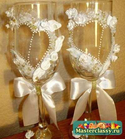 Свадебные фужеры своими руками : мастер-класс по оформлению с пошаговыми
