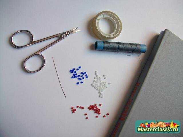 Флаги из бисера Франция Мастер класс с пошаговыми фото.  Плетение браслетов из бисера схемы.