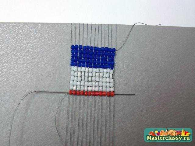 серёжки из бисера своими руками французский флаг схема.