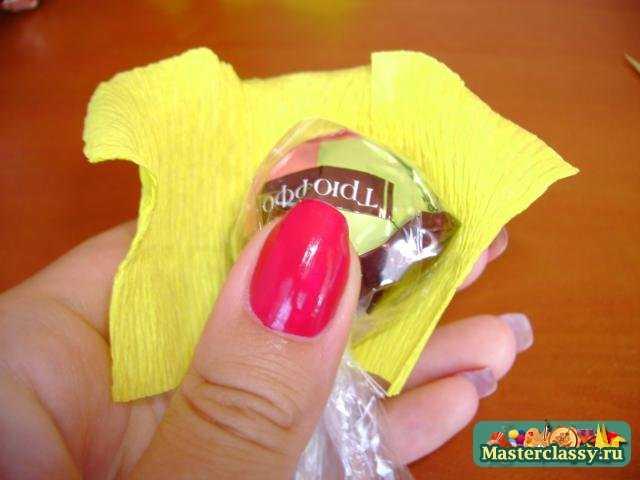 роза из конфет пошаговое