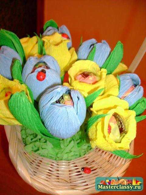 Букет из конфет своими руками. Полевые цветы. Мастер класс с пошаговыми фото