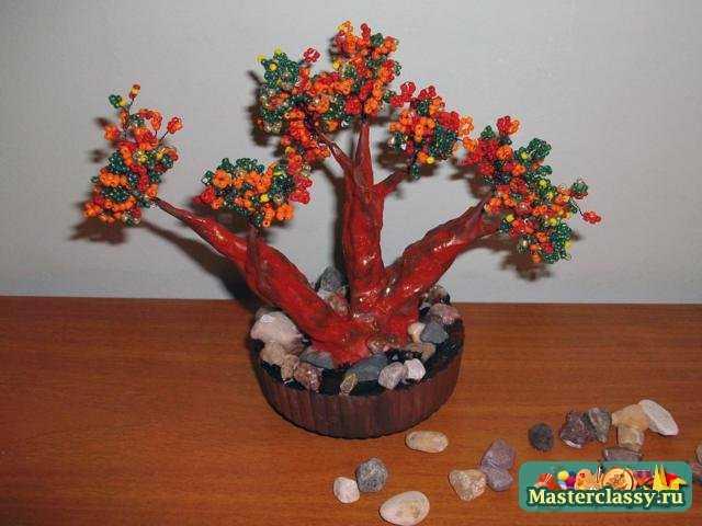 Цветущие бонсай из бисера мастер класс с пошаговым 14