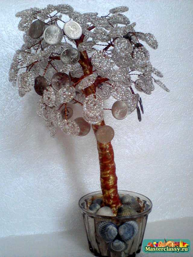 Денежное дерево из бисера с монетками. Мастер класс с пошаговыми фото