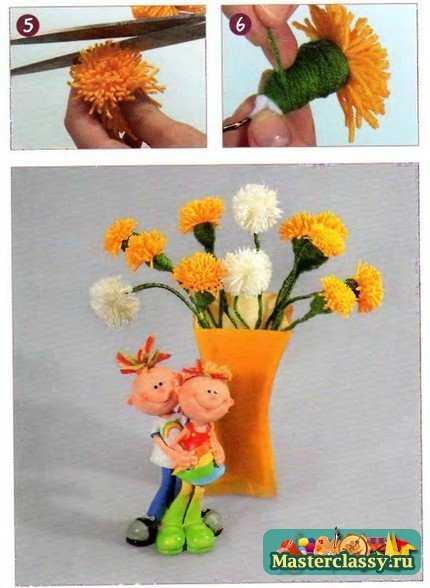 Цветы своими руками. Одуванчики из ниток