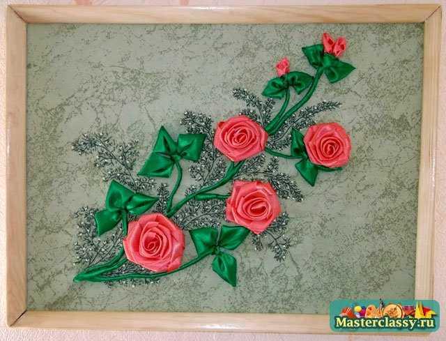 Картина из лент. Садовая роза.