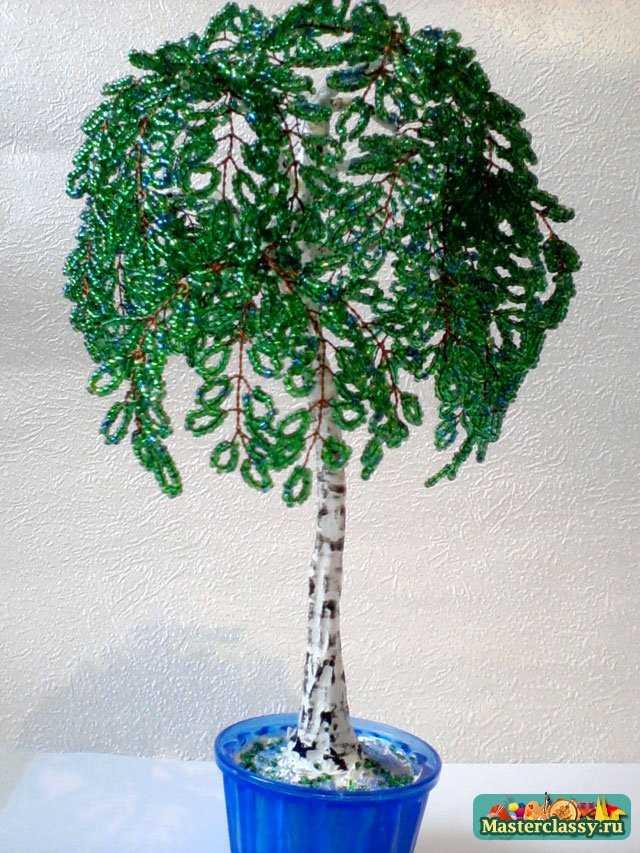 """Мастер классы  """" Бисероплетение  """" Деревья из бисера  """" Зеленоватая береза из бисера.  Мастер класс с пошаговыми фото..."""