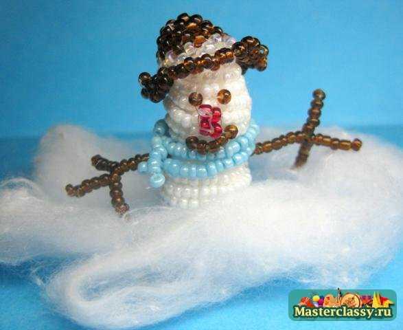 Снеговик из бисера в шапочке. Мастер класс с пошаговыми фото