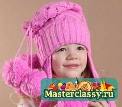 зимние шапки на девочку с меховым