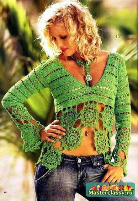 Вязанная красота из интернета. вяжем крючком. блуза с кокеткой. пуловер.  Тэги. шапочка. кардиган. пончо...