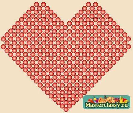 Подскажите, где найти Схемы плетения сердечек из бисера.