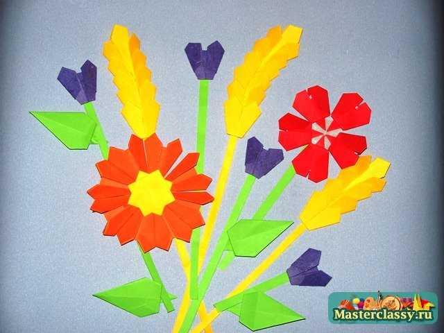 Аппликация с оригами цветы