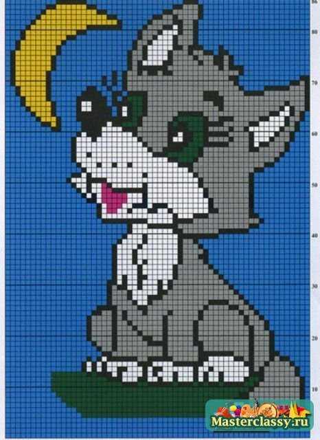 Вязаный свитер спицами с рисунком Волчонок