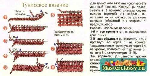 вязания тунисским крючком,