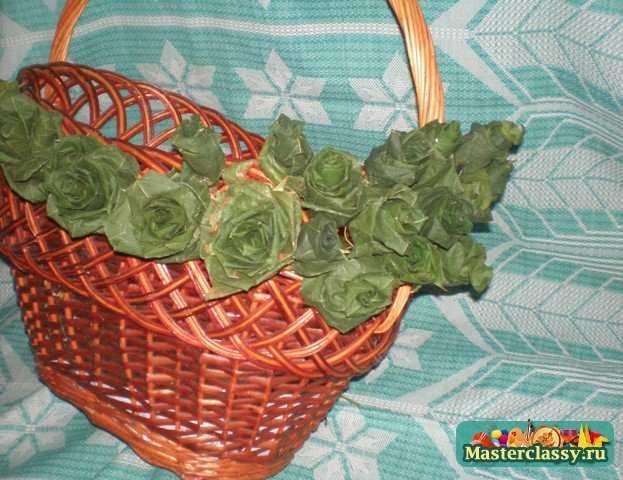 Корзина с листьями поделка