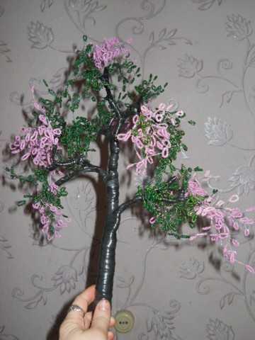 Цветущее дерево из бисера Мастер класс с пошаговыми фото.