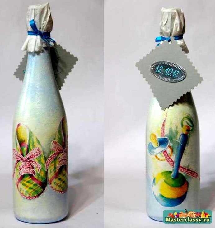 Подарки в технике декупаж. Бутылочка для новорожденного. Мастер класс с фото