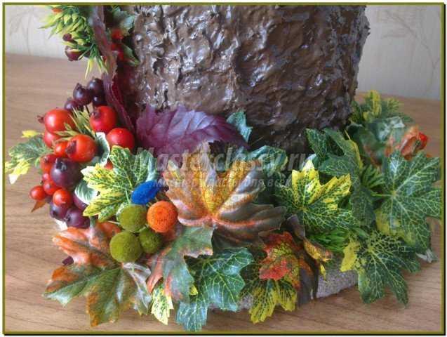 Осенние поделки. Вазочка - пенёк для сухоцветов. Мастер класс с пошаговыми фото